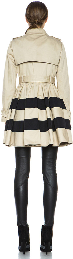 RED Valentino A-Line Cotton Trench Coat in Khaki