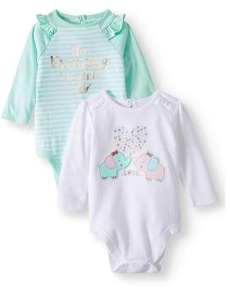 ebcd07ccb Garanimals Raglan Bodysuit & Graphic Bodysuit, 2-pack (Baby Girls)