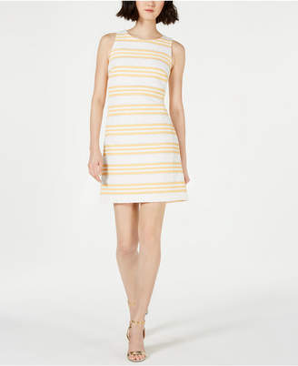 Vince Camuto Metallic Stripe Brocade Shift Dress