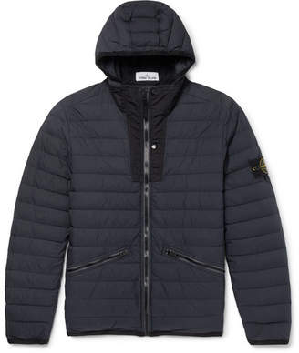 Stone Island Logo-Appliqued Garment-Dyed Quilted Shell Hooded Down Jacket