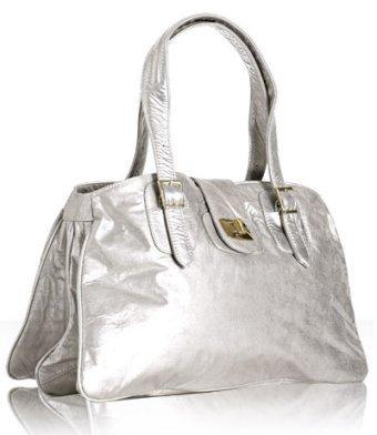 Bulga silver patent metallic leather 'Emperor' shoulder bag