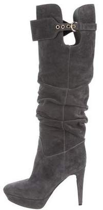 Sergio Rossi Suede Round-Toe Knee-High Boots