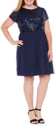BLU SAGE Blu Sage Short Sleeve Sequin Top Dress - Plus