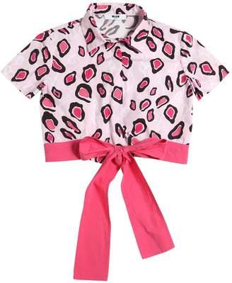 MSGM Leopard Print Cotton Poplin Shirt