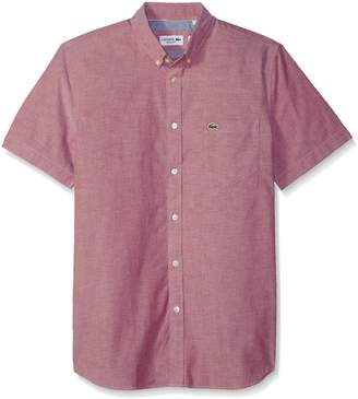 Lacoste Men's Short Sleeve Button Down Oxford Solid Shirt Regular Fit