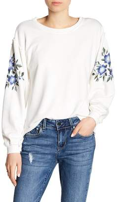 Seven7 Embroidered Puff Sleeve Sweatshirt