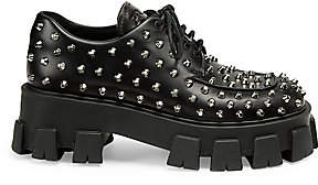 Prada Women's Lug-Sole Studded Leather Creepers
