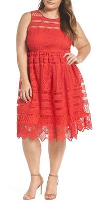 LOST INK Eyelet Lace Fit & Flare Dress (Plus Size)