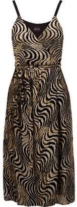 Milly Haley Metallic Devoré-Chiffon Wrap Dress