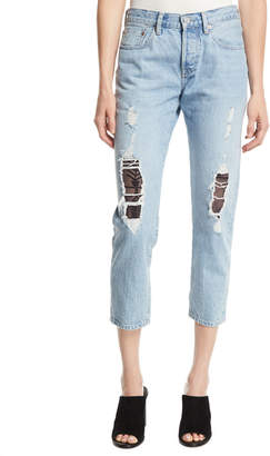 Levi's 501 Cropped Taper Distressed Jeans