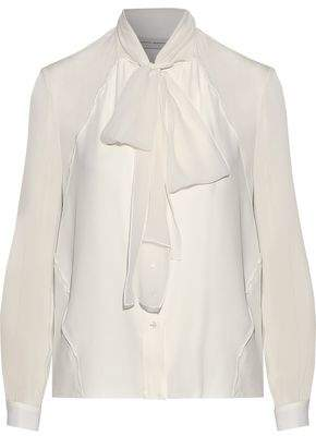 Carolina Herrera Pussy-Bow Silk-Chiffon Blouse