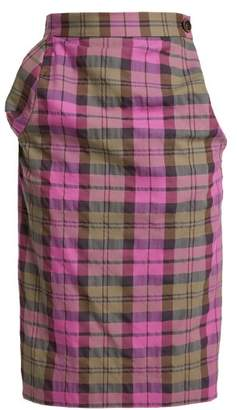 Vivienne Westwood Tartan Cotton Blend Pencil Skirt - Womens - Pink Multi