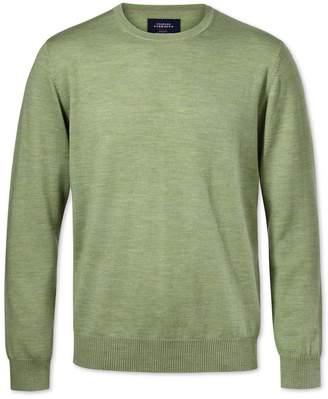 Charles Tyrwhitt Light Green Merino Wool Crew Neck Sweater Size Medium