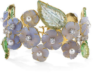 Irene Neuwirth One-Of-A-Kind 18K Gold Carved Chalcedony And Tourmaline Bracelet