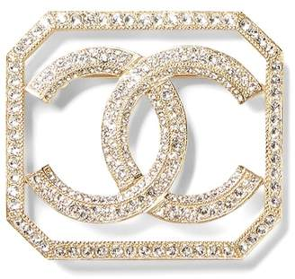 Banana Republic LUXE FINDS   Chanel Gold Crystal Border Logo Pin