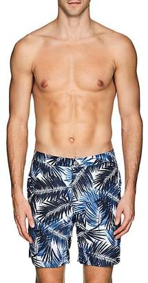 Onia MEN'S CALDER PALM-PRINT SWIM TRUNKS - WHITE SIZE 30