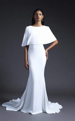 Cushnie Bridal Lydia Open Back Cape Sleeved Gown with Train
