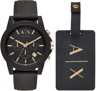 Armani Exchange Boxed Chronograph Silicone Strap Watch Gift Set, 45mm