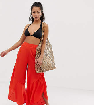 Asos DESIGN Petite split frill wide leg beach pants in burnt orange