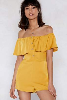 Nasty Gal Sorry to Button in Off-the-Shoulder Romper