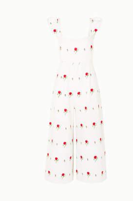 Marella Seren Ruffled Embroidered Linen Jumpsuit - White