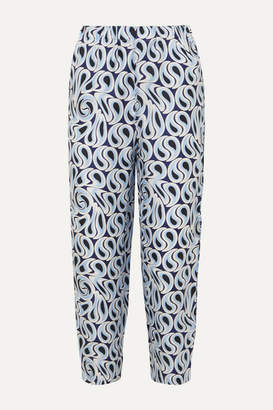 Marni Printed Silk-twill Tapered Pants - Blue