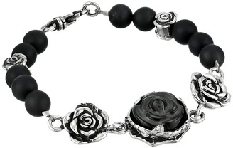 King Baby Studio - 8mm Onyx Bead Bracelet with Carved Jet Rose and Silver Roses  Bracelet $535 thestylecure.com