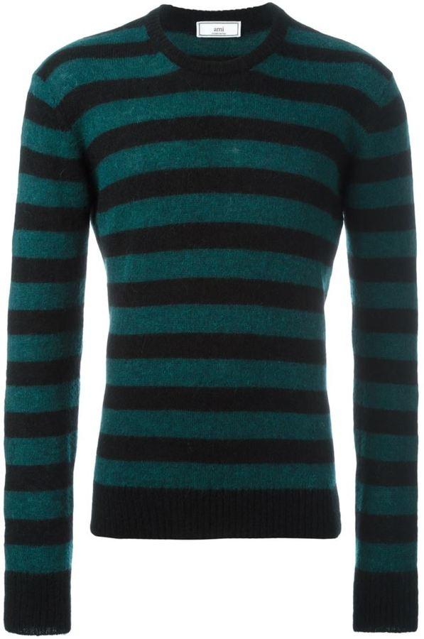Ami Alexandre Mattiussi striped crew neck sweater