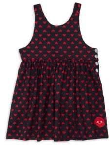 Smiling Button Little Girl's& Girl's Sweetheart Sleeveless Cotton Dress