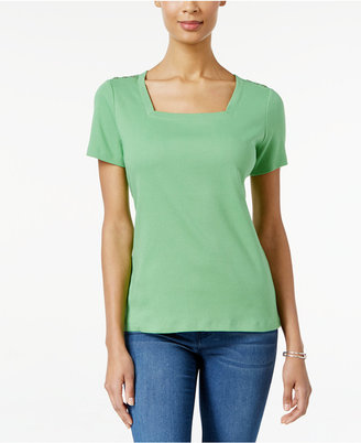 Karen Scott Square-Neck T-Shirt, Only at Macy's $29.50 thestylecure.com