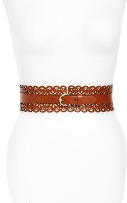 Women's Hinge Scallop Laser Cut Leather Belt $49 thestylecure.com