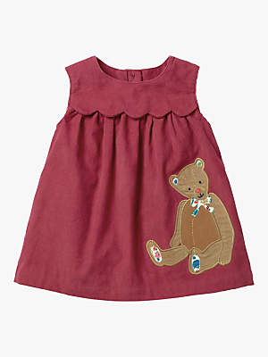 Boden Mini Baby Teddy Bear Friend Appliqué Dress, Bramble Red