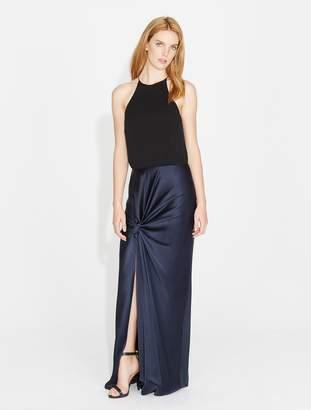 Halston Twist Drape Georgette Satin Combo Gown