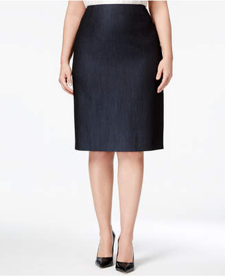 Anne Klein Plus Size Denim Twill Pencil Skirt