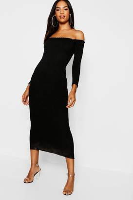 boohoo Tall Rib Knit Bardot Midaxi Dress
