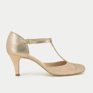 Jonak Gold Leather T-Strap Heels