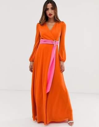 TFNC wrap maxi dress with contrast waistband in orange