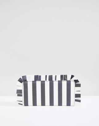 Monki Striped Frill Edge Purse
