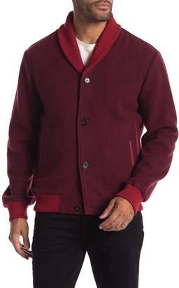 Daniel Won Lamb Leather Trim Cardigan Style Jacket