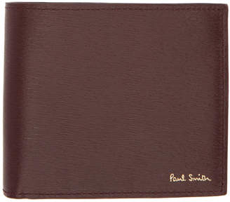 Paul Smith Burgundy and Orange Straw Grain Wallet