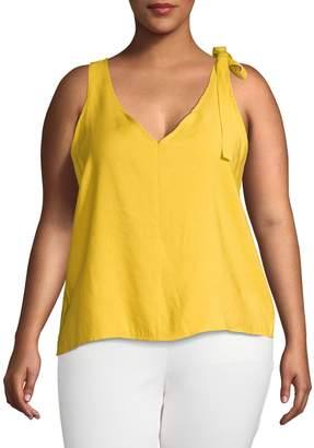 Gabrielle Plus Self-Tie Bow Sleeveless Top