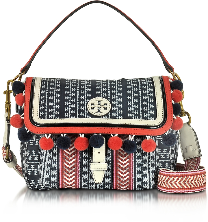 Tory Burch Tory Burch Scout Multicolor Nylon Pom-Pom Crossbody