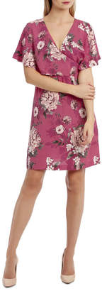 Miss Shop Cross Over Dress - Large Bloom Floral