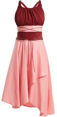 J.W.Anderson Off The Shoulder Contrast Panel Dress - Womens - Pink