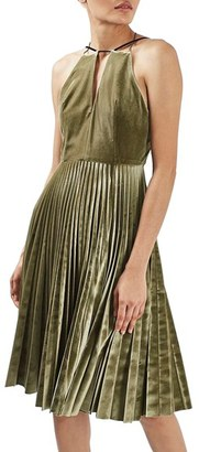 Petite Women's Topshop Pleated Velvet Fit & Flare Dress $160 thestylecure.com