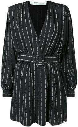 Off-White logo stripe mini dress