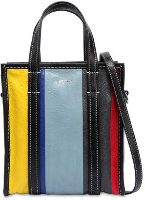 Balenciaga Xs Bazar Striped Leather Tote Bag