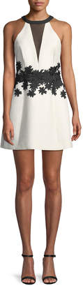 Halston Halter Mini Dress w/ Floral Embroidery