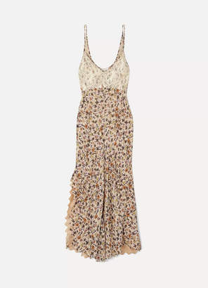 Chloé Scalloped Lace-trimmed Floral-print Crepe Dress - Beige