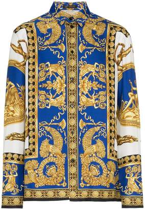 Versace blue baroque print silk shirt